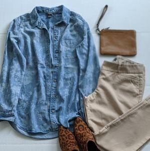 Eddie Bauer Boyfriend Blue Jean Shirt